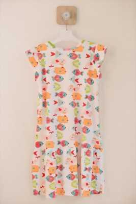 Đầm suông trắng hình đàn cá nhiều màu bơi cho bé gái HIKARI-9