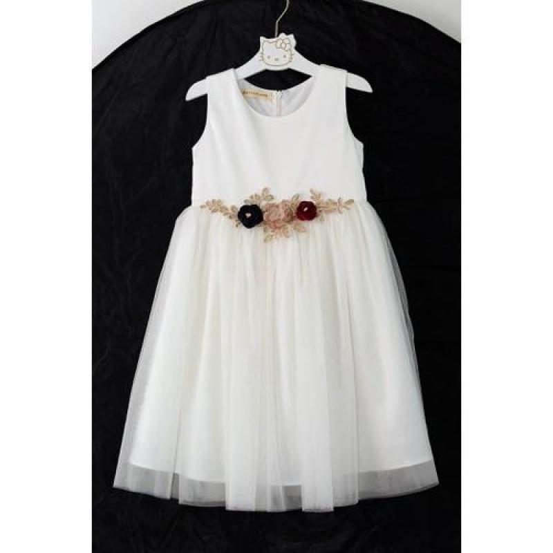 Đầm xòe trắng đính hoa ren eo cho bé gái HIKARI-12.1