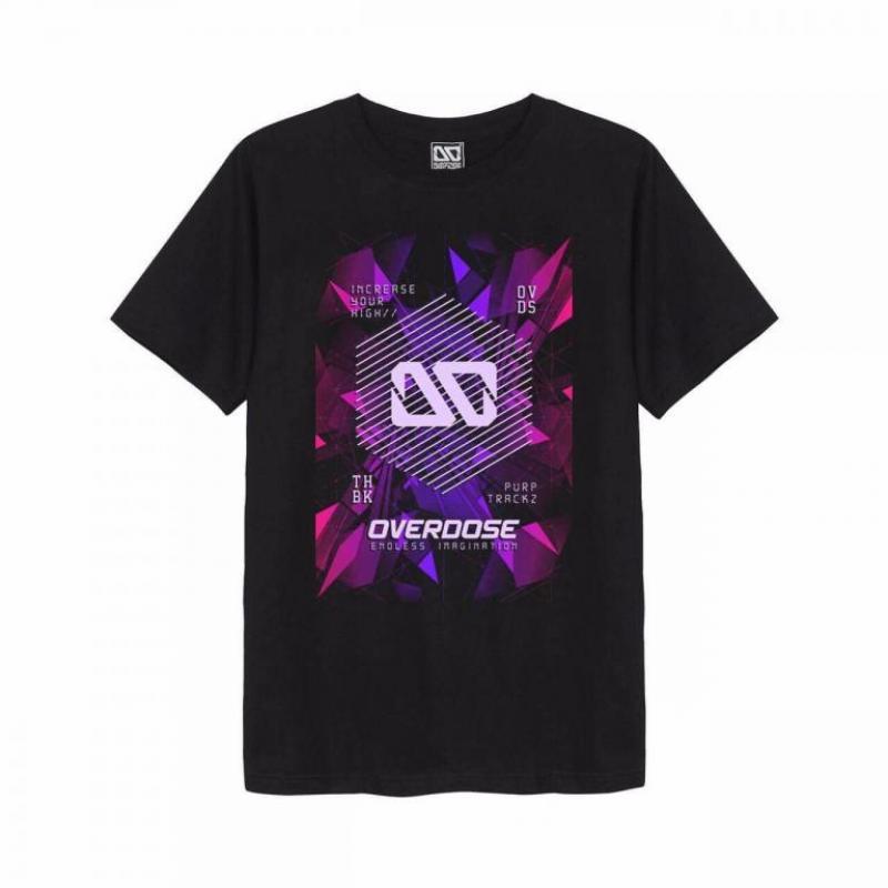 Áo thun Overdose in 3D logo OD trên nền mảnh pha lê sắc hồng tím T0312