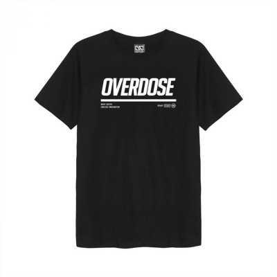 Áo thun Thái đen in 3D chữ Overdose trắng đậm T0329