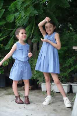 Jum sọt sát nách xanh Jean chấm bi nhỏ cho bé gái Hikari-4.1