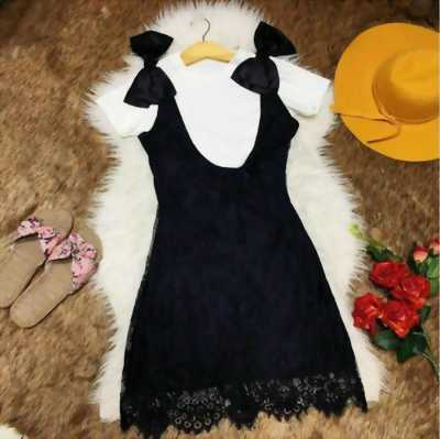 Set áo thun kèm yếm ren đính nơ vai SET058
