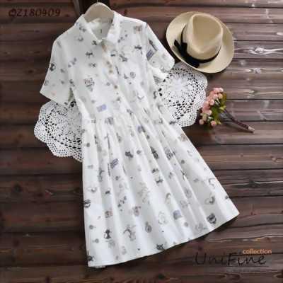 Đầm babydoll nữ tay lửng in hình – QZ180411
