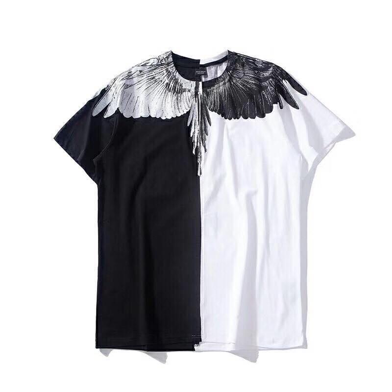 Áo thun nam phối 2 nửa trắng đen in hình cánh chim ưng trên vai AT0003