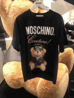 Áo thun nam màu đen in hình chú gấu bông đội nón AT0006