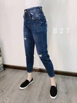 Quần jeans ngố lửng wax rách thời trang VNXK cao cấp cực hot