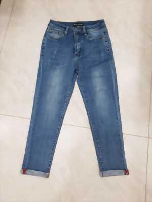 Quần jean nữ 9 tấc wax xước thời trang Mã QJN001
