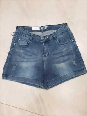 Quần sóc jean nữ wax vằn xước thời trang Mã QS003