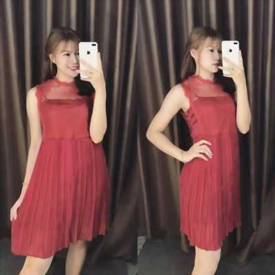Đầm ren đỏ đô