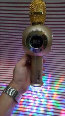 Micro Karaoke M8 (Màu vàng),âm thay hay,có đèn LED