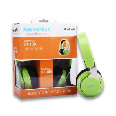 Headphone không dây Soundmax BT-100 bluetooth v4.1 xanh lá chính hãng