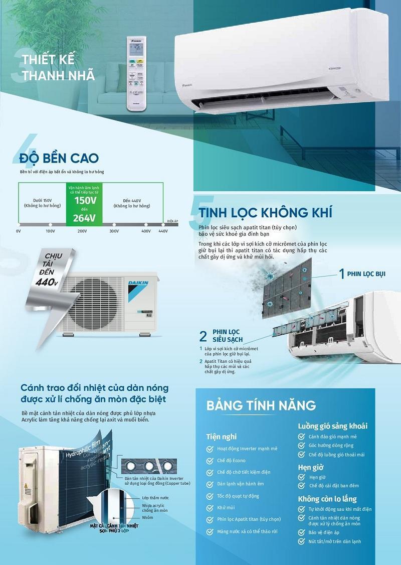 Cung cấp & lắp đặt máy lạnh treo tường Daikin FTKQ25/35SAVMV Loại Inverter tiêu chuẩn Gas R32