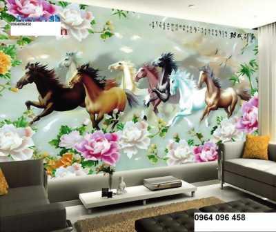 tranh 3d 8 con ngựa - gạch tranh mã đáo thành công