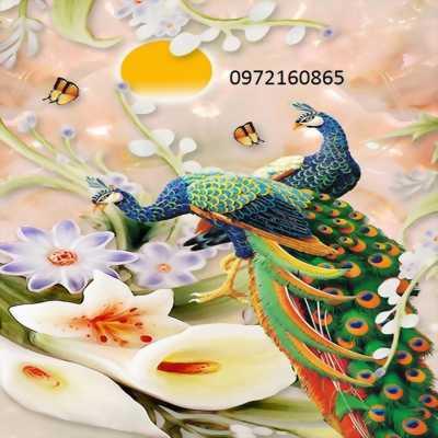tranh gạch men 3d mẫu chim công
