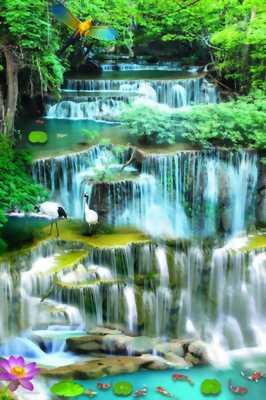 gạch tranh 3d thác nước