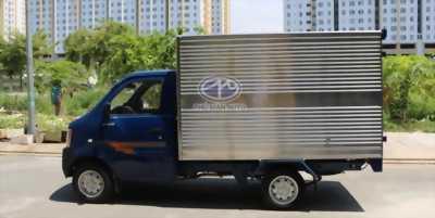 Bán xe tải Dongben 770kg thùng kín, màu xanh, giá tốt